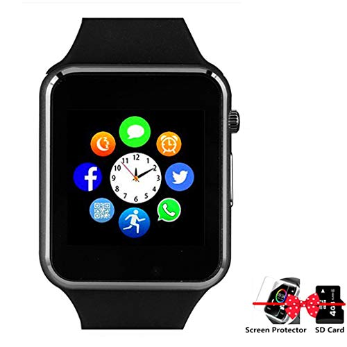 Smart Watch Bluetooth Smartwatch with Pedometer Camera Music Player Call Message Notification Compatible for Android and iPhone (Partial Functions) for Men Women Kids (Black)