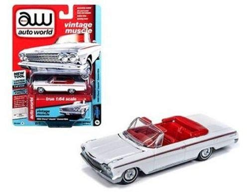 DIECAST Toys CAR AUTO WORLD 1:64 Premium 2018 Release 4 Version A - 1962 Chevrolet Impala Convertible (Ermine White) AWSP014-24A