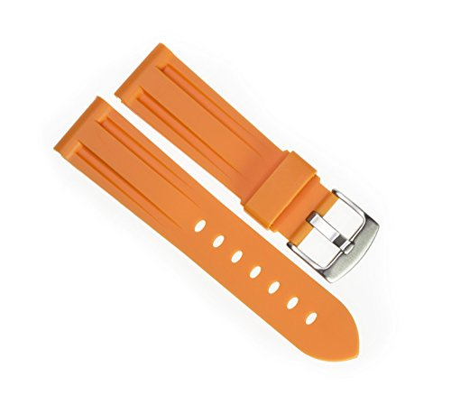 Strap Orange Diver Watch Band fits PANERAI with Brush Stainless Buckle (Panerai Rubber Band)