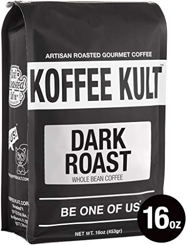 (Koffee Kult DARK ROAST COFFEE (16oz) Highest Quality Delicious Specialty Grade Whole Bean Coffee - Fresh Gourmet Aromatic Artisan Blend)