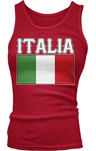 Amdesco Junior's Italia Flag, Flag of Italy, Italian Tank Top, Red Large