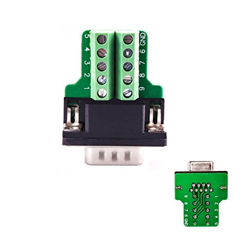 YIOVVOM DB9 Breakout Connector to Wiring Terminal RS232 D-SUB Male Serial Adapters Port Breakout Board Solder-Free Module with case(Female Serial Adapter)