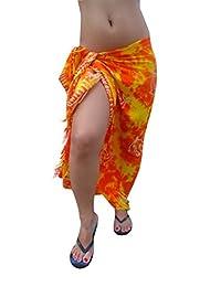 Ingear Long Batik Print Sarong (One Size, Orange Yellow/Dolphin)