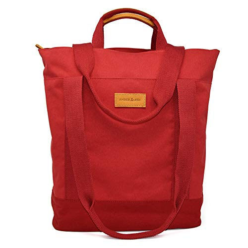 Amber & Ash Convertible Tote - Slim Laptop Backpack with Many Pockets - Water Resistant, Travel Friendly Totepack with Trolley Sleeve - Fits 13-inch Laptop [Red]