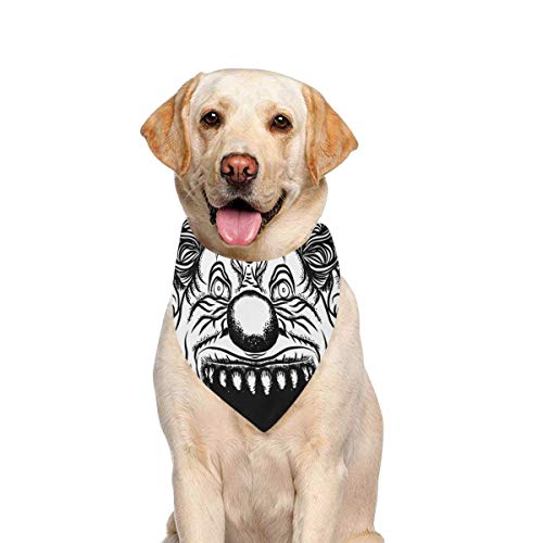 (JTMOVING Dog Scarf Scary Cartoon Clown Horror Movie Printing Dog Bandana Triangle Kerchief Bibs Accessories for Large Boy Girl Dogs Cats Pets Birthday Party)