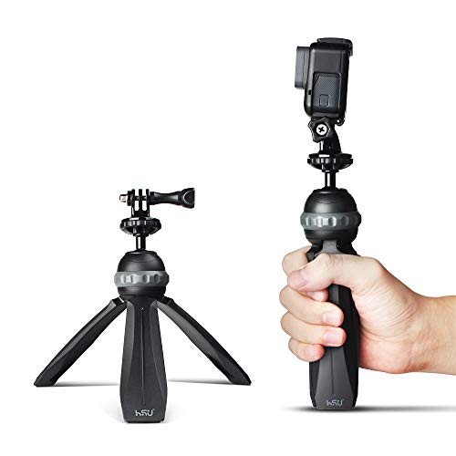 HSU Mini Tripod Stand, Multipurpose Tabletop Holder Compatible with Gopro, Cell Phone, Webcams, Compact Cameras DSLRs, Portable & Lightweight, Fully Adjustable Angle & Rotation