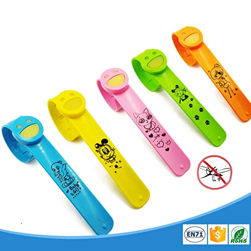 Yu2d Snap Buglet Smile Anti Mosquito Slap Bracelets with Citronella Oil(Orange) -