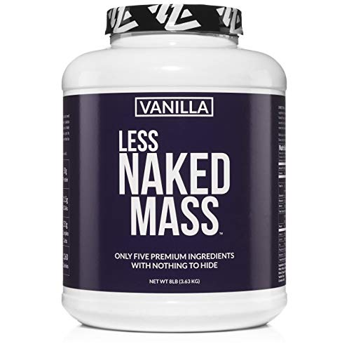 VANILLA LESS NAKED MASS - All Natural Weight Gainer Protein Powder - 8lb Bulk, GMO Free, Gluten Free & Soy Free. No Artificial Ingredients - 1,260 Calories - 11 Servings (Best Weight Gain Powder)