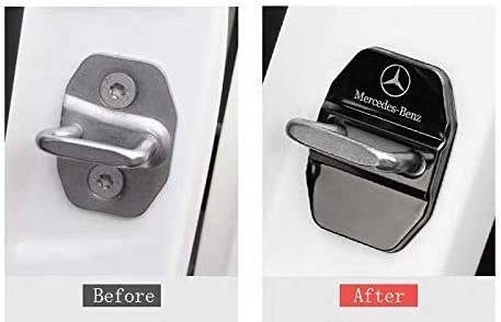 Set of 4 Sliver Stainless Steel Car Door Lock Latches Cover Protector,Car Door Lock Buckle Decorative Cover for Mercedes GLK-Class,S-Class Maybach,A//C//CLA//GLA//G//M//S//SL-Class AMG,3M Adhesive Backing
