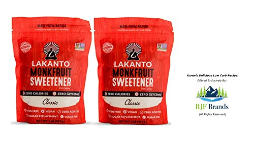 Lakanto Monkfruit Sweetener. 2 Large, 1 lb Bags of the Classic Low Carb Sugar Substitute. The Healthy Keto Sugar Choice for living the Paleo Lifestyle. Also Includes Karen's Low-Carb Brownies -