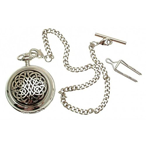 (Engraving included - Solid Pewter fronted mechanical skeleton pocket watch - Celtic knot)