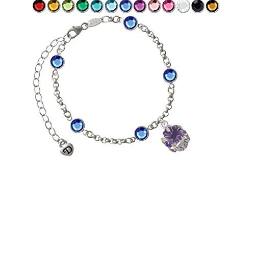 (Hot Purple Hibiscus Flowers Spinner Custom Crystal Color Fiona Charm Bracelet)