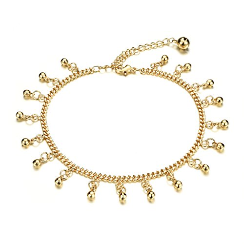 - Women Gold Plated Twisted Chain Anklet Bracelet With Beads Bells Heart Shape Pendant Sandal Beach Jewelry