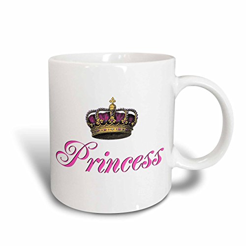 3dRose mug_112873_2 Princess-Girly Hot Pink Cursive Script Text with Fancy Royal Crown Potential Part of Couples Gift, Ceramic Mug, 15-Ounce -