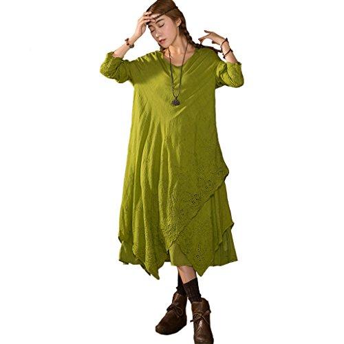 Floreale Donna Lunga Dressw Aeneontrue Ricamo Più Livelli Manica Irregolare Con q85wfqd