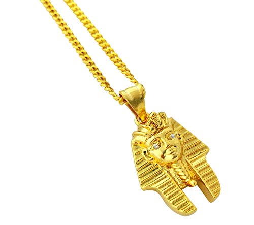 "18k Gold Plated Egyptian King Tut Pharaoh Pendant Stainless Steel Necklace with 24"" Chain"