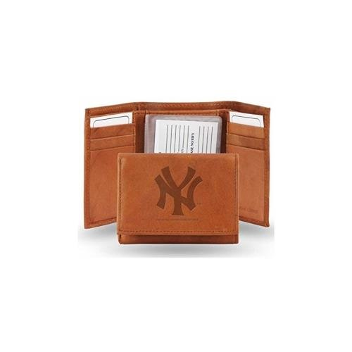 New York Yankees Official MLB Leather Trifold Wallet by Rico (Leather Mlb Wallet)