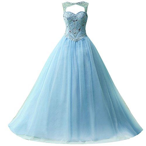Linie Blau Ballkleider Damen Tüll Quinceanera Festkleider Lang Kleider A Abendkleider xqvaTqYwO