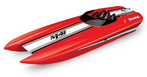 (Traxxas 57046-4 Red DCB M41 Brushless Catamaran Boat with TQi 2.4 Ghz Radio & TSM, Red)