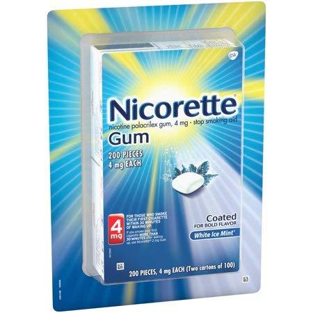 Nicorette White Ice Mint Nicotine Stop Smoking OTC Gum 4mg 200 Count