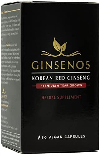 Ginsenos Korean Red Panax Ginseng 1700mg – 60 Vegan Capsules – Extra Strength Whole Root 6 Year Ginseng Pills – Natural Energy, Libido, Memory for Men and Women