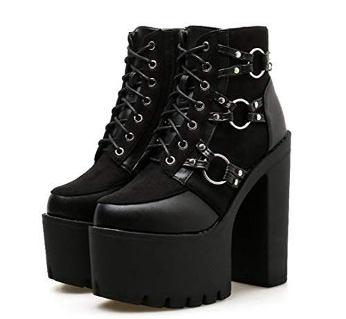 Nightclub Thick Bottes Bottom à New Talons Shiney Booties l'eau Imperméable Black Chunky Classic Hauts Femmes Plate Martin Heel à Forme BYwqZ