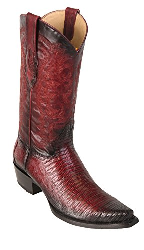 - Men's Snip Toe Faded Burgundy Genuine Leather Teju Lizard Skin Western Boots - Exotic Skin Boots