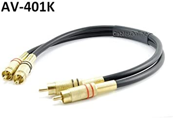 CablesOnline 3ft 2-RCA Male to 2-RCA Female Red//White Audio Extension Cable, AV-E403RW