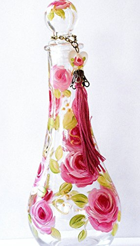 Large Hand Painted Rose Perfume Bottle with Stopper and Handmade Tassel (2 Piece Boudoir Rose)