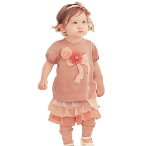 Zehui Baby-girls Tops+Ruffle Culottes Outfits Flowers T-shirts Set (2 Piece)