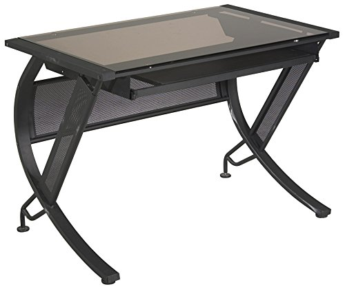 Office Star Horizon Computer Desk with Pull-out Keyboard Tray, Temptered Glass Top, and Black Powder Coated Steel Frame