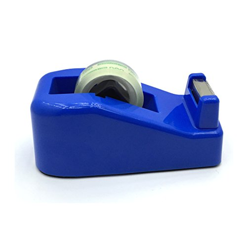 Heavy Duty Tape Dispenser, JIALEEY Tape Dispenser Office Desk Top Sellotape Sticky Cellotape Holder Table Weighted Non-slip Capacity 0.7'' Width - With 1 Roll of Tape Supplied, Blue by JIALEEY