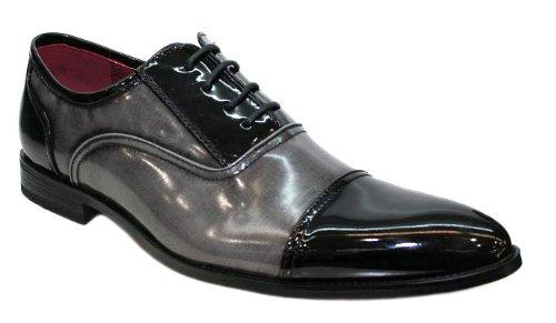 Chaussures Hommes - Vernis Bicolore Richelieu Noir et Gris V4