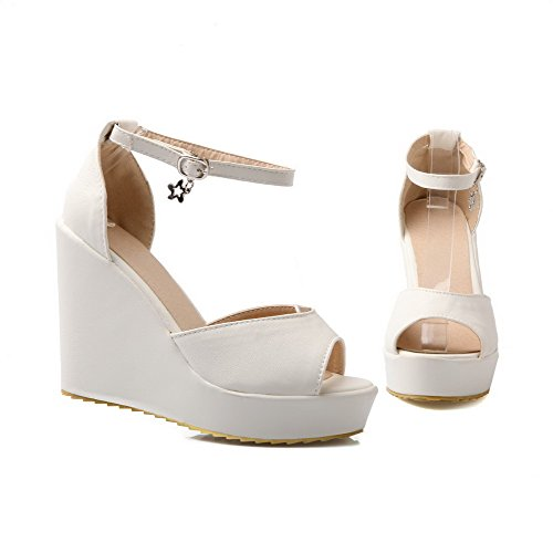 AllhqFashion Women's High-Heels Soft Material Buckle Platforms & Wedges with Wrist Strap White bCHRaQ6MPR