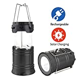 LED Camping Lantern, Solar and Rechargeable Lantern Flashlight Collapsible and Portable Light for Daily/Camp/Hiking/Night Fishing/Emergency/Hurricanes/Storm
