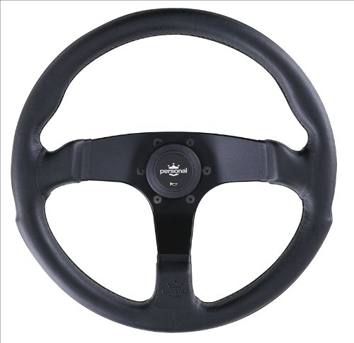 Personal Steering Wheel - Fitti E3 - 350mm (13.78 inches) - Black Leather with Black Spokes - Part # (6408 Leather)