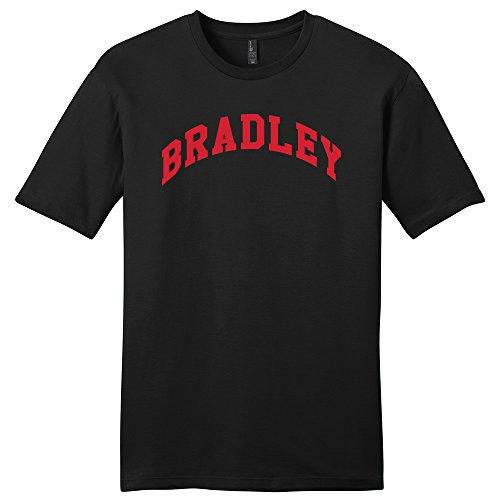 Black Heather Arch T-shirt - NCAA Bradley Braves Arch Soft Style T-Shirt, X-Large, Black