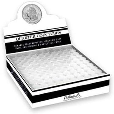 100 Round Quarter Coin Tubes Round Quarter New Durable Polypropylene - Box 100