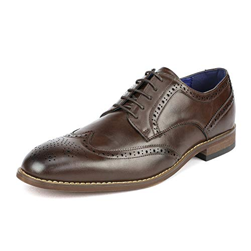 (Bruno Marc Men's William_2 Brown Classic Brogue Wing Tip Lace Up Soft Round-Toe Oxfords Dress Shoes Size 9.5 M US)