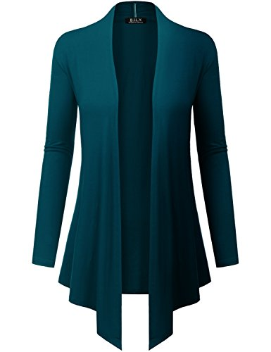 Because I Love You Women's Open Front Drape Hem Lightweight Cardigan - X-Large - Teal