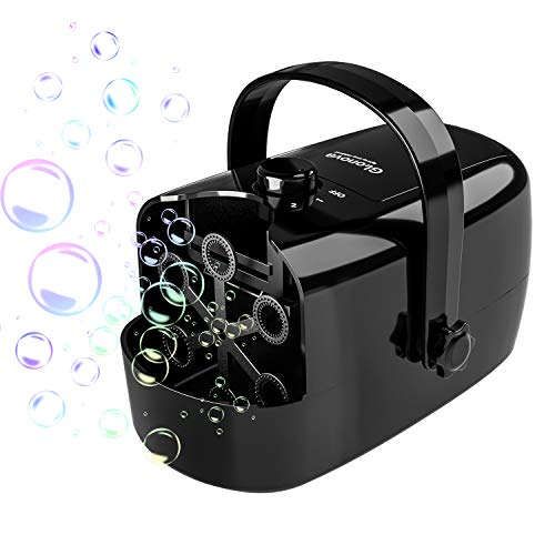 Glonova Party Bubble Machine Powered by Plug-in or Batteries, Two Bubbles Blowing Speed Levels, Pro Bubble Blower Machine Bubble Maker with High Output, Outdoor or Indoor Use, 13.5 oz -