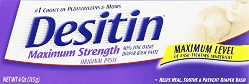 Desitin Diaper Rash Paste, Maximum Strength, Original 4 Ounces (Pack of 6) by Desitin