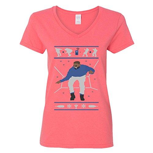 H&T Shirt V-Neck for Women Hotline Bling Drake Women's V-Neck Shirts(Coral Silk,XX-Large) ()