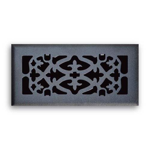 Truaire C164-OMB 04X10(Duct Opening Measurements) Decorative Floor Grille 4-Inch by 10-Inch Ornamental Scroll Floor Diffuser, Matte Black Finish - Ornamental Scroll