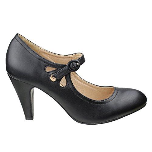 BESTON DE39 Womens Teardrop-Hollow Out Mary Jane Dress Pumps Run One Size Small Black FfeaN