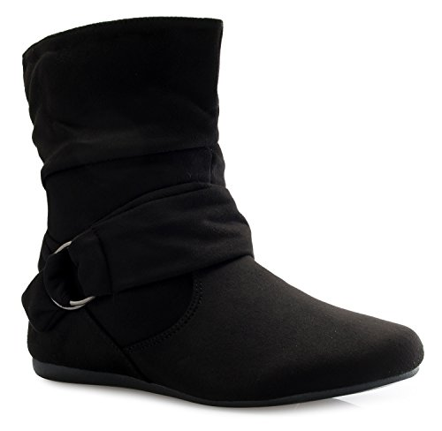 Inch Ankle 1/2 Boot Sexy - OLIVIA K Womens Low Heel Slouch Suede Slip On Casual Ankle Boots Ring Buckle Side Zipper