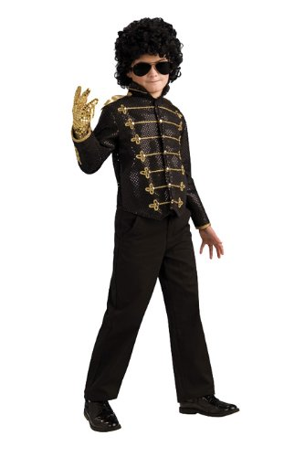 Michael Jackson Child's Deluxe Military Jacket Costume Accessory, Medium, Black