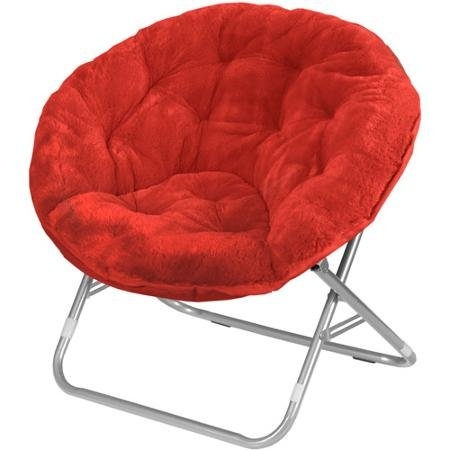 Mainstays Faux-Fur Saucer Chair, Multiple Colors (1, Red Engine) by Mainstay