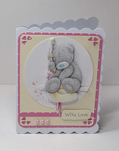 - Handmade 3D Tatty Teddy With Love Blank Greeting Card in Pink, Yellow, White with Heart Corners, Scalloped Edges and Pink Faux Pearls