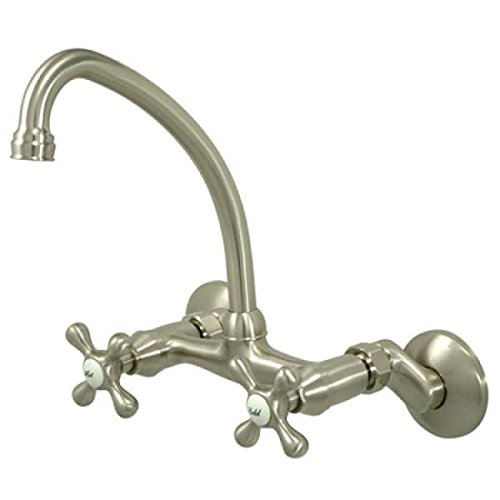 Kingston Brass KS214SN Victorian High Arch Spout Wall Mount Kitchen Faucet, 4